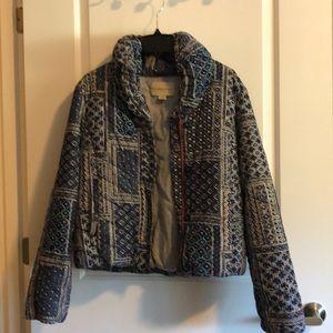 Anthropologie Blue Puff Jacket